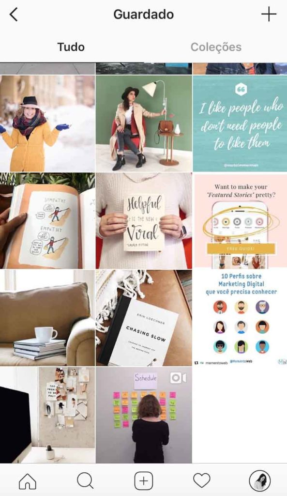 Como ter constantemente novas ideias para o blog - Guardar posts no Instagram e pins no Pinterest